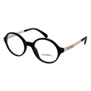 CHANEL - ROUND EYEGLASSES WITH CASE IN BLACK